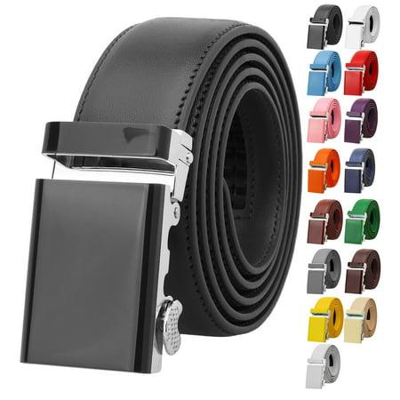 Falari Men Unisex Genuine Leather Ratchet Dress Belt Automatic Sliding Buckle Trim to Fit Genuine Leather Dress Belt