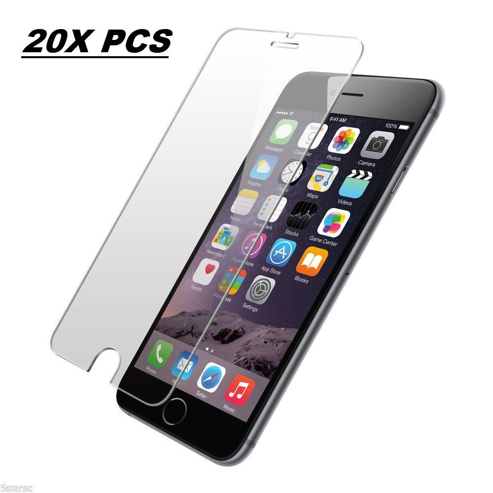 20 Pack Premium Tempered Glass Screen Protectors - Wholesale Lot 20 PCS of Screen Protectors for iPhone 6/6S (NON-RETAIL PACKAGING)