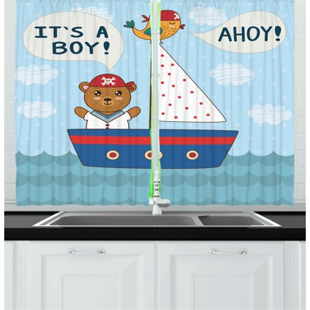 Ahoy Its a Boy Curtains 2 Panels Set, Cute Baby Shower Theme It's a Boy in Nautical Style Bear and Bird in Boat, Window Drapes for Living Room Bedroom, 55W X 39L Inches, Multicolor, by Ambesonne (Ahoy Its A Boy Baby Shower Theme)