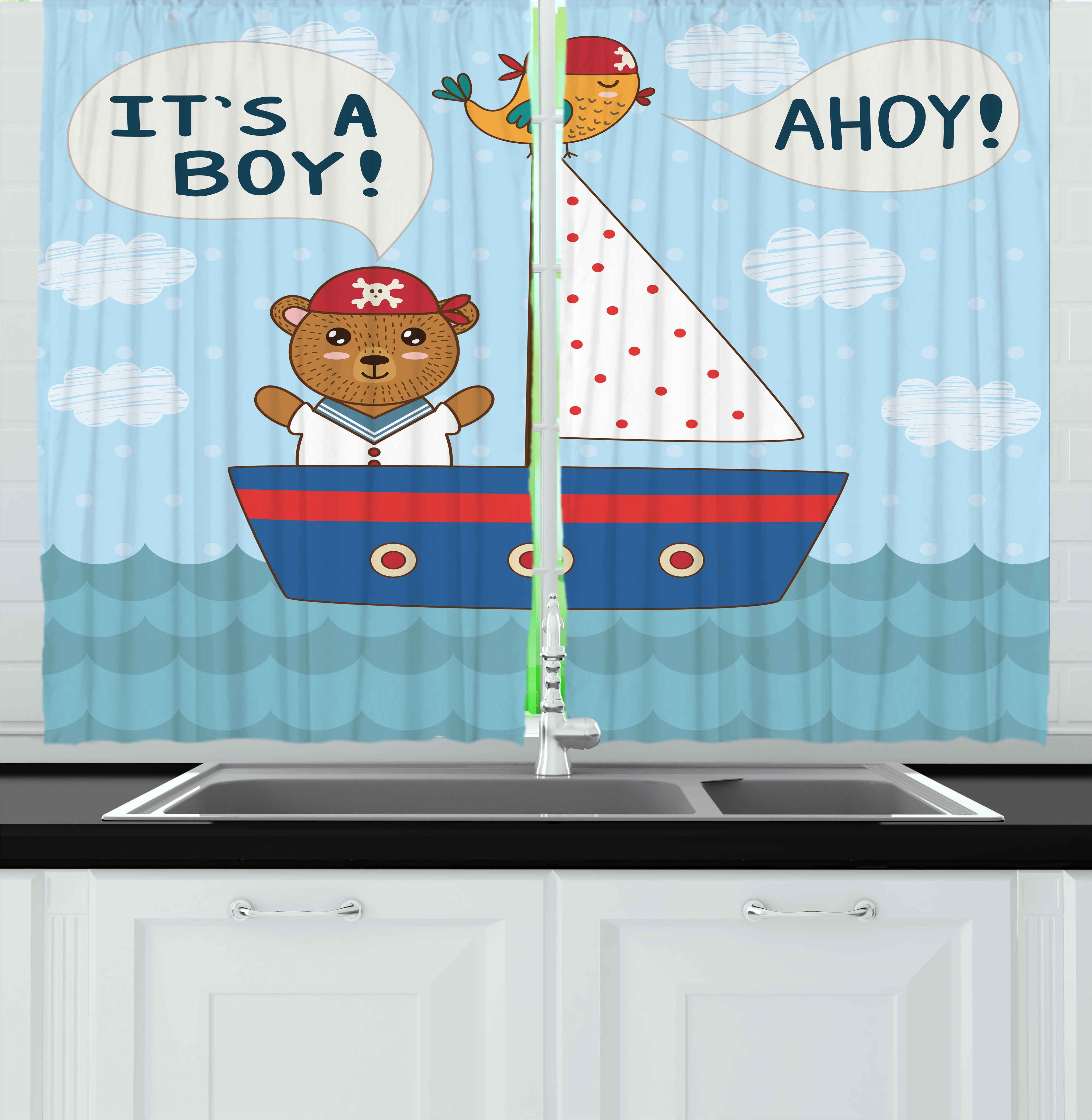 Ahoy Its a Boy Curtains 2 Panels Set, Cute Baby Shower Theme It's a Boy in Nautical Style Bear and Bird in Boat, Window Drapes for Living Room Bedroom, 55W X 39L Inches, Multicolor, by Ambesonne