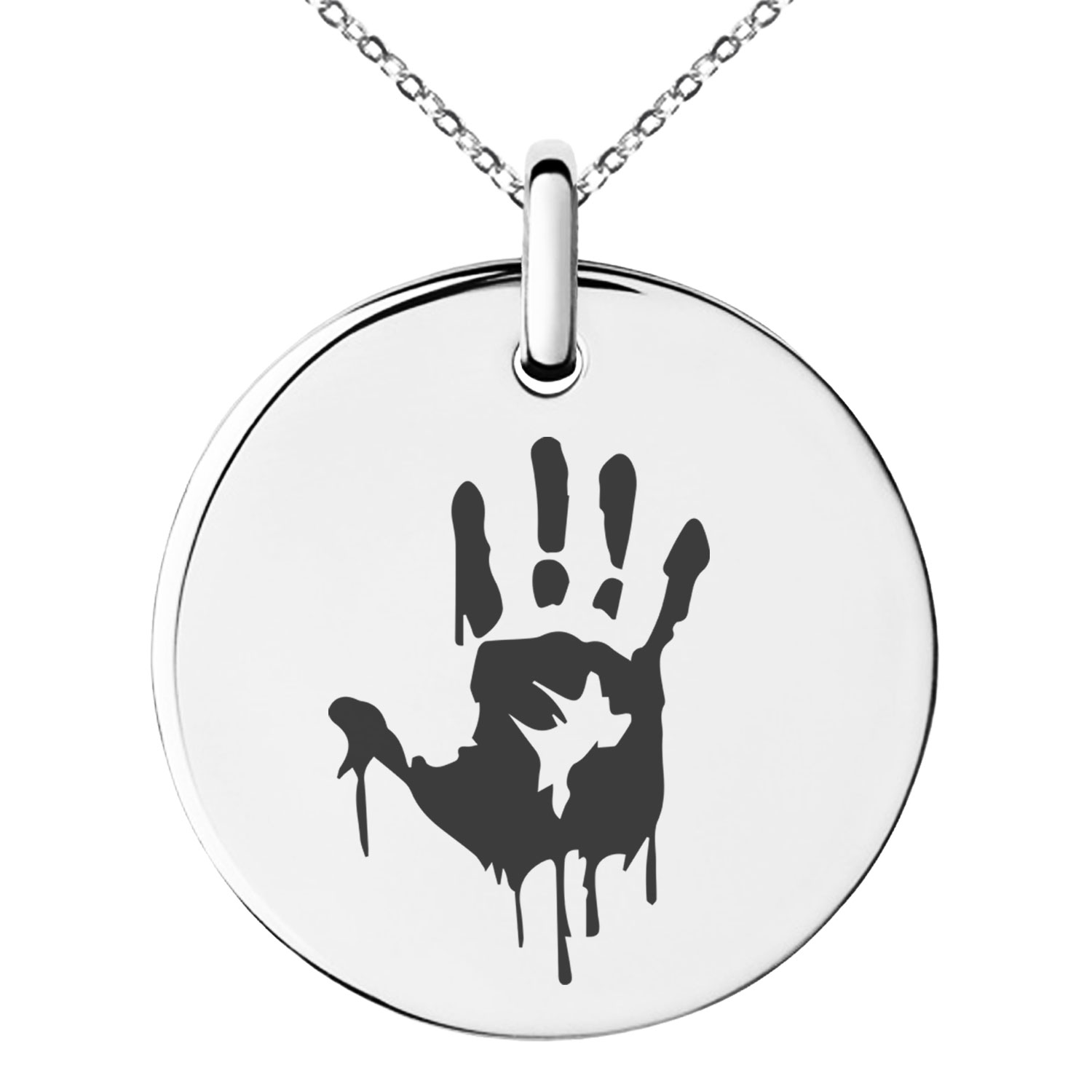 Biohazard Symbol Necklace Mens Womens Stainless Steel Zombie Pendant