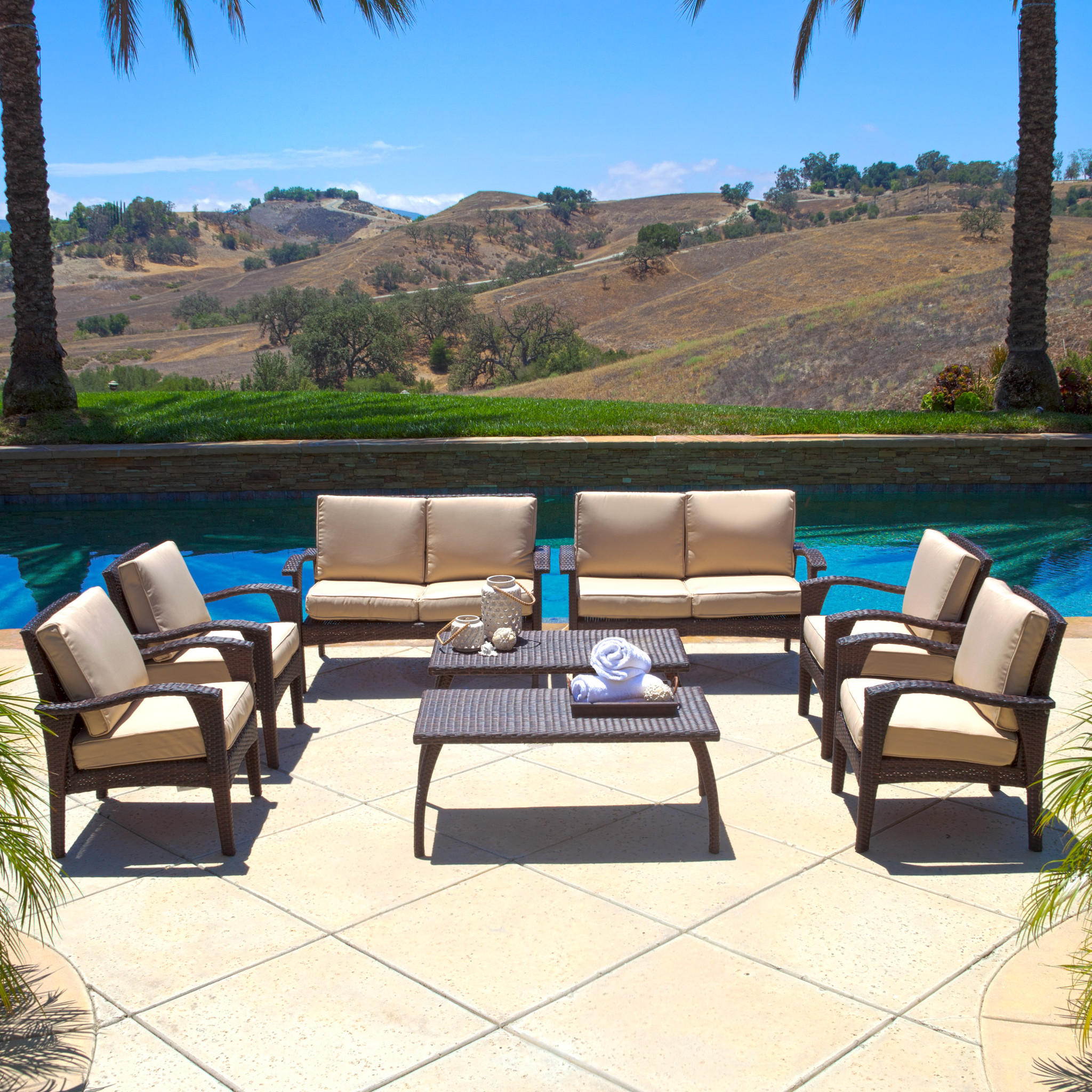 Amos Outdoor 8pc Brown Wicker Seating Set & Cushions by NFusion