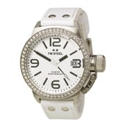 TW35 Women's CEO Canteen Swarovski Crystal Accented Bezel White Dial White Leather Strap Watch