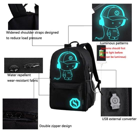 86b88164e70 ENJOY - ENJOY USB Charge Cool Boys School Backpack Luminous School Bag  Music Boy Backpacks Black - Walmart.com