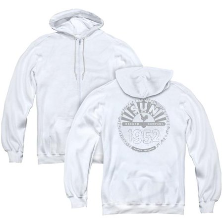 Trevco Sportswear SUN154BK-AZH-2 Sun Records & Crusty Logo Back Print Adult Zipper Hoodie, White - Medium