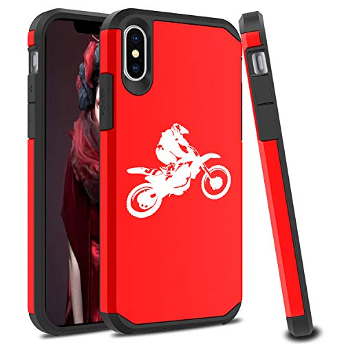 Shockproof SI Impact Hard Soft Case Cover Protector for Apple iPhone Dirt MX Bike Rider (Red, for Apple iPhone XR)