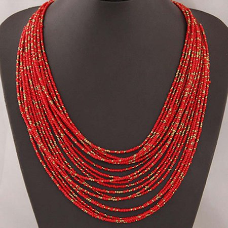 Fancyleo Necklace Women Jewelry Multi-layer Choker Statement Pendant Faddish New