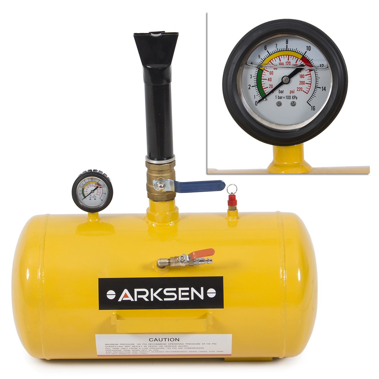 Arksen 10GAL Bead Seater Inflator Blaster Tire, Yellow
