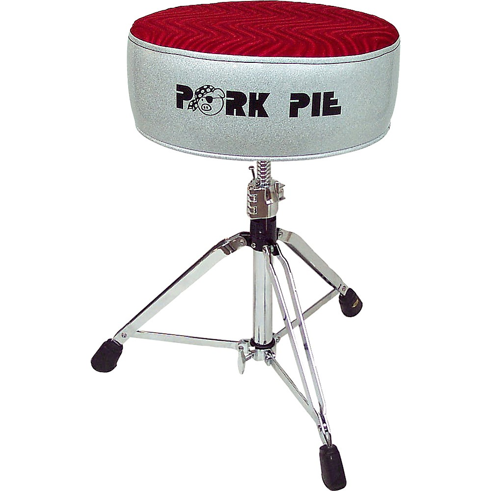 Pork Pie Round Drum Throne Silver Sparkle with Red Swirl Top by Pork Pie