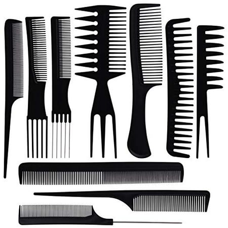 - 10 Piece Set Hair Stylists Professional Styling Comb Set Variety Pack Great for All Hair Types & Styles