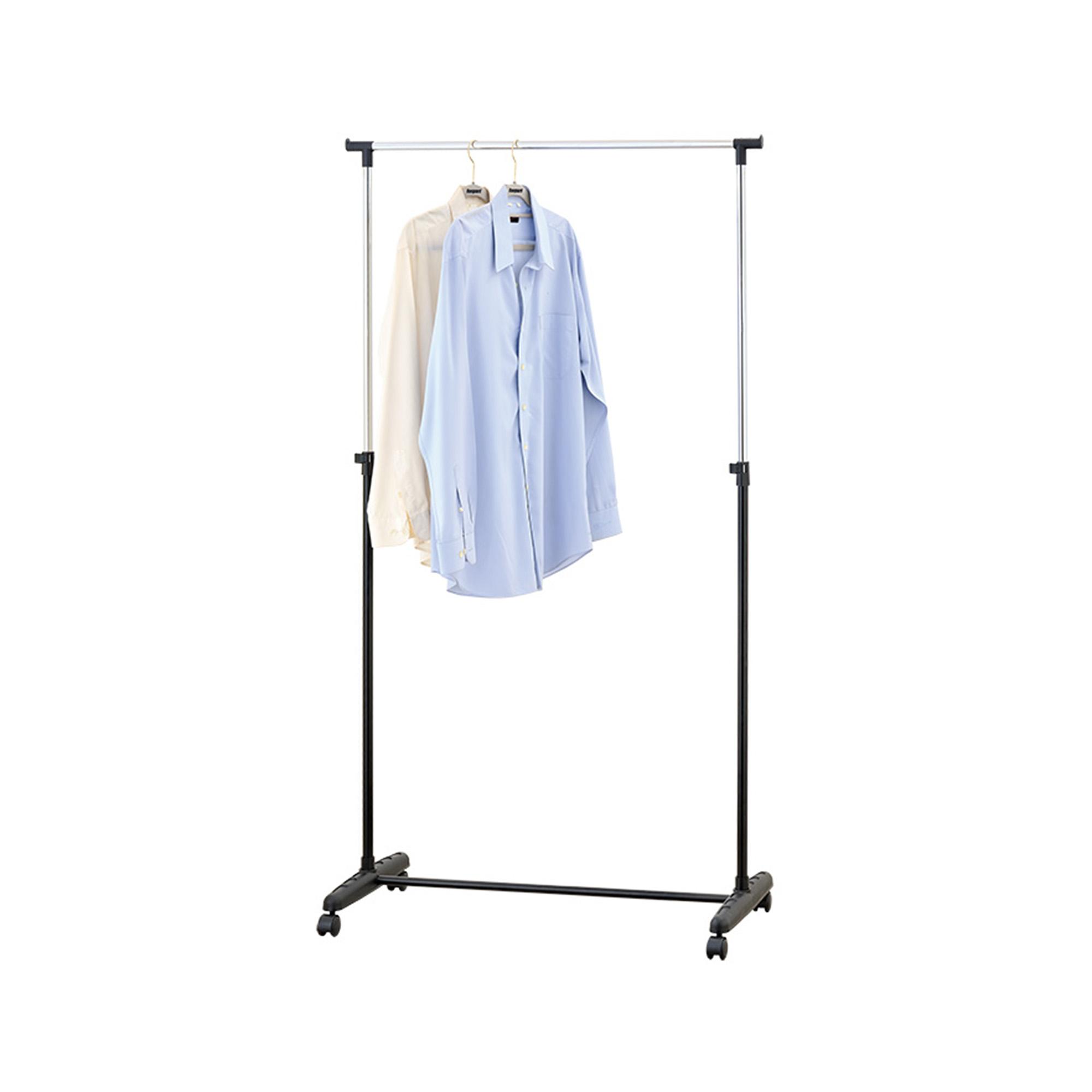 Mind Reader Adjustable Metal Garment Rack with Wheels, Silver/Black