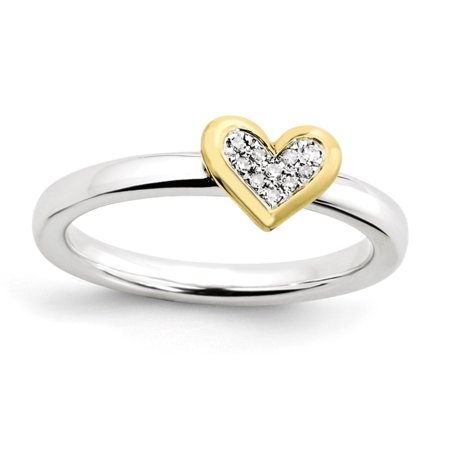 Sterling Silver Stackable Expressions Heart w/Diamond & Vermeil Ring Size 9 - image 1 de 3