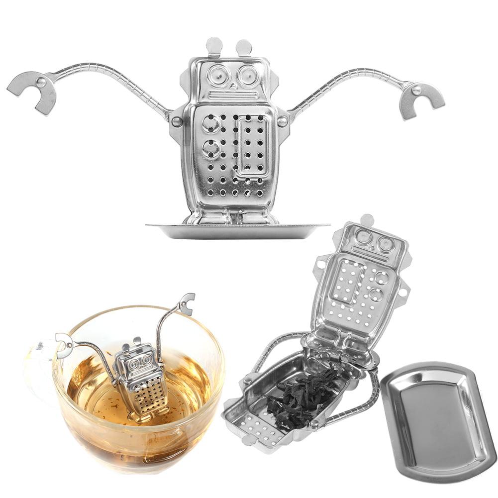 Stainless Steel Loose Tea Leaf Infuser Ball Strainer Filter Diffuser Herbal Spice Robot Shape, Loose tea strainer, Tea Ball