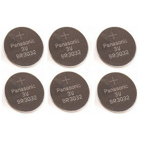 (6 Pieces) Panasonic Battery, Lithium Button Cell Br3032- Br 3032 ()