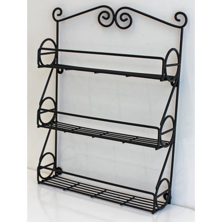 Metal Wall Mountable Black Scroll Kitchen Spice Rack, WLR01