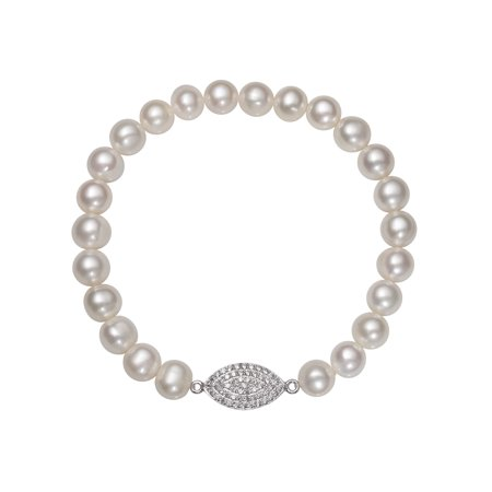 7-8mm Cultured Freshwater Pearl and CZ Encrusted Sterling Silver Charm Stretch Bracelet, 7.5