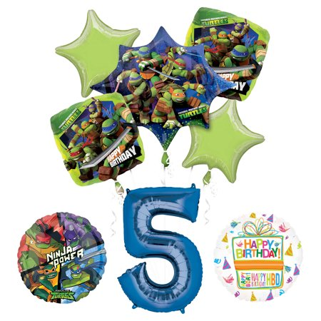 Teenage Mutant Ninja Turtles 5th Birthday Party Supplies and TMNT Balloon Bouquet Decorations](Ninja Turtles Birthday Decorations)