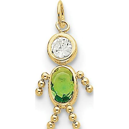 Leslies Fine Jewelry Designer 10k Yellow Gold August Boy Birthstone Pendant Gift - Communion Gift For Boy