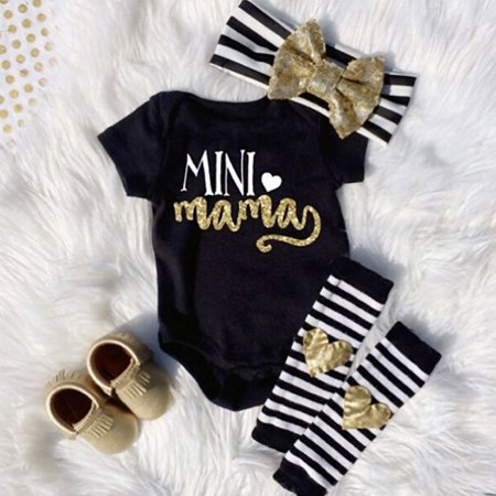 Mama's Mini Newborn Infant Baby Girl Romper+Leg Warmer+Headband Clothes - Personalized Infant Dresses