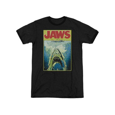 Jaws Shark Thriller Movie Bright Colored Poster Adult Ringer T-Shirt Tee