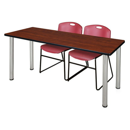 - Regency Kee Cherry Training Table with 2 Stackable Zeng Chairs