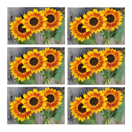 YUSDECOR Old Wood Boards with Sunflowers Vintage Concept Placemats Table Mats for Dining Room Kitchen Table Decoration 12x18 inch,Set of 6 - image 1 of 4