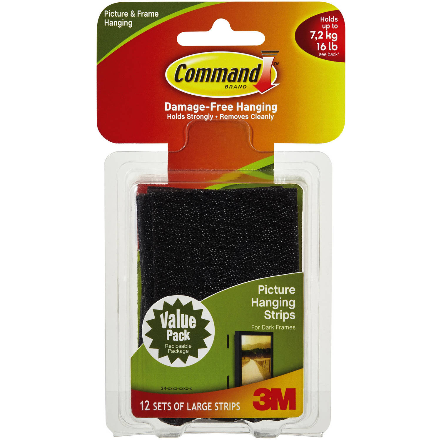 Command Large Black Picture Hanging Strips Value Pack, 12 Sets of Strips