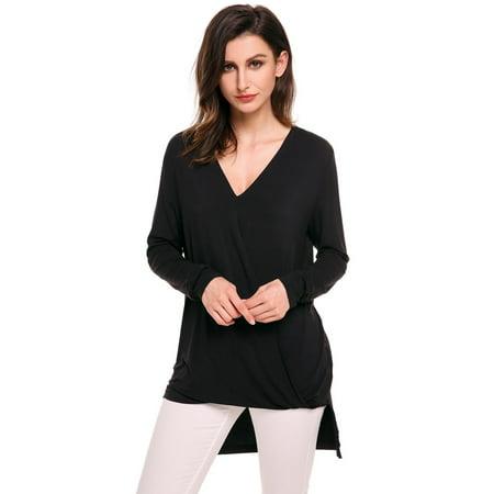 6df3b370608c Women T-Shirt V-Neck Long Sleeve Front Cross Pleated Elastic T-Shirt ...
