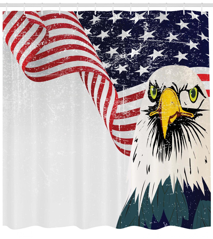 Shower Curtain Decor Set American Flag Eagle Design Bath Curtains 12 Hooks