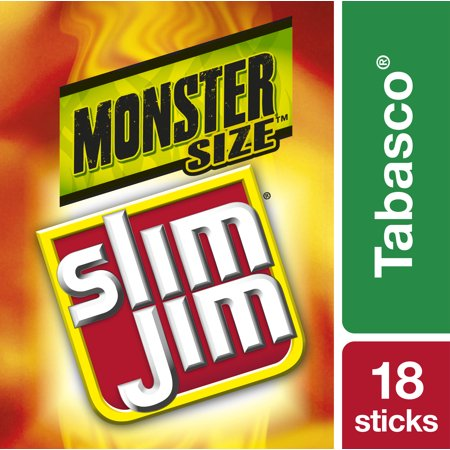 Slim Jim Monster Smoked Meat Stick, Tabasco Flavor, 1.94 Oz.