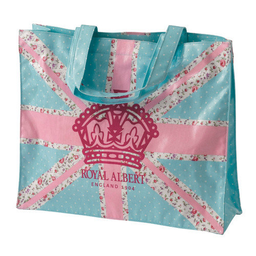 Royal Albert New Country Roses Old Pastel Union Jack Plasticised Shopping Tote