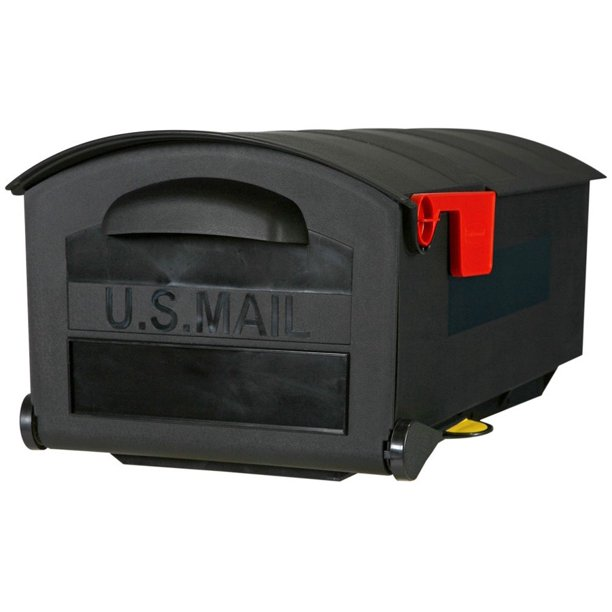 Solar Group Large, Polymer, Post-Mount Mailbox, Black, MB515B01