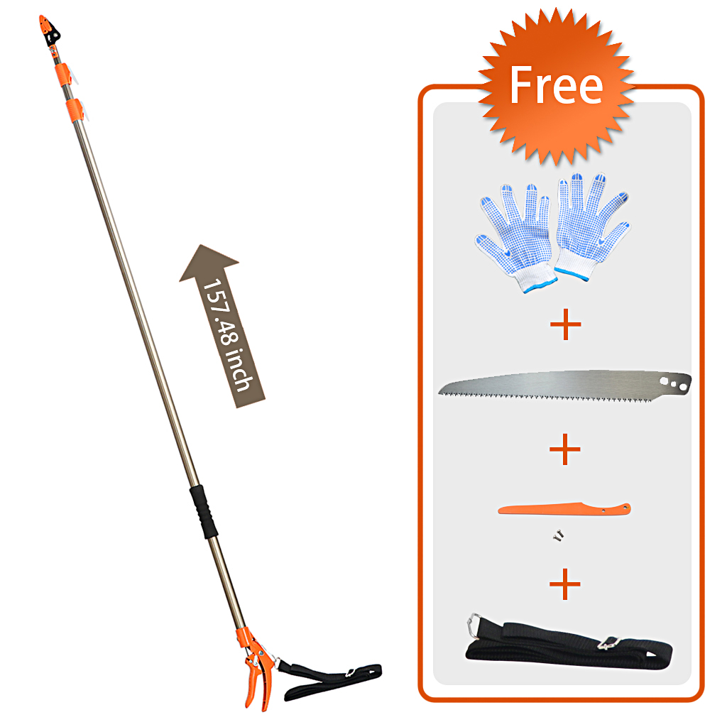 Finether Tree Trimmer,Telescopic Long Reach Aluminum Cut & Hold Pole Pruner and Saw, Chops Thick Branches Tree Trimmer with Sturdy Professional Extends from 5.91 to 13.12 ft