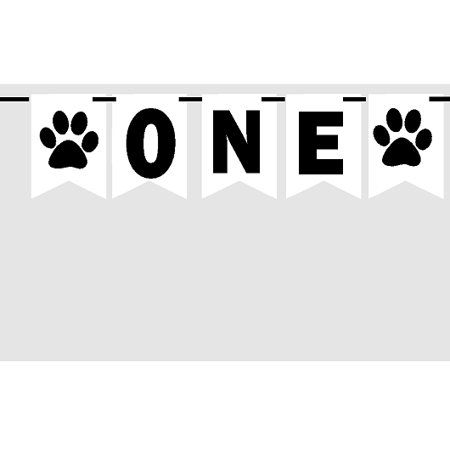Baby First (1st) Birthday Baby Black and White Paw Print Party Theme Picture Backdrop/HIgh Chair/Wall Decoration Banner - Toddler Birthday Party Themes