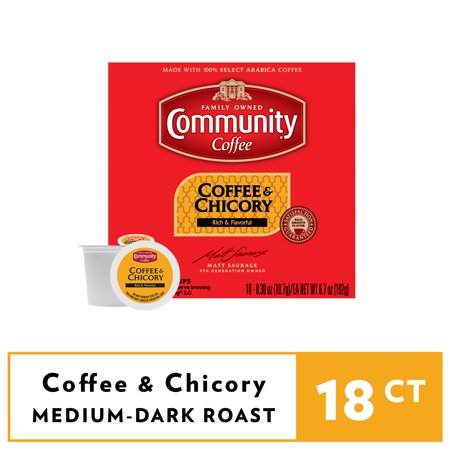 Community® Coffee Coffee & Chicory Single-Serve Cups 18 ct Box Compatible with Keurig 2.0 K-Cup Brewers