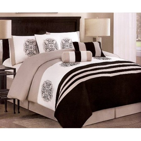 7 pieces embroided medallion comforter set king black for Black white taupe bedroom