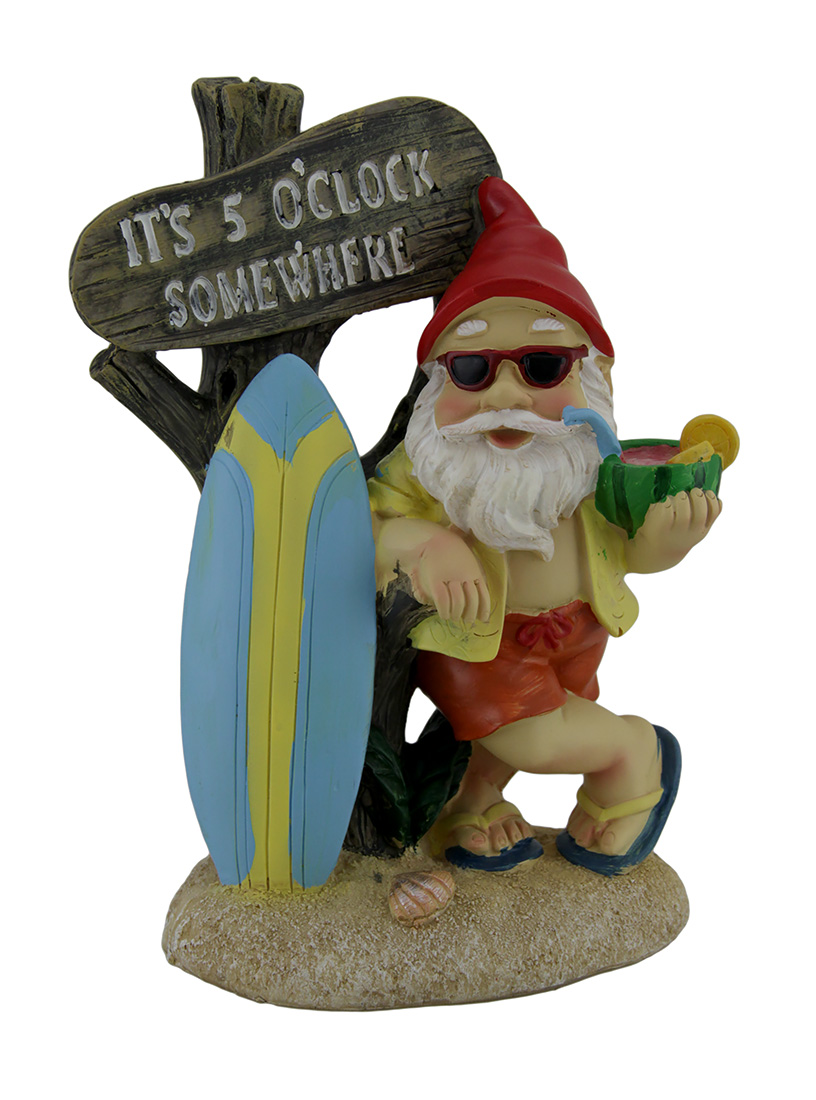 It's 5 O'clock Somewhere Tropical Beach Bum Gnome Statue by Mayrich Company