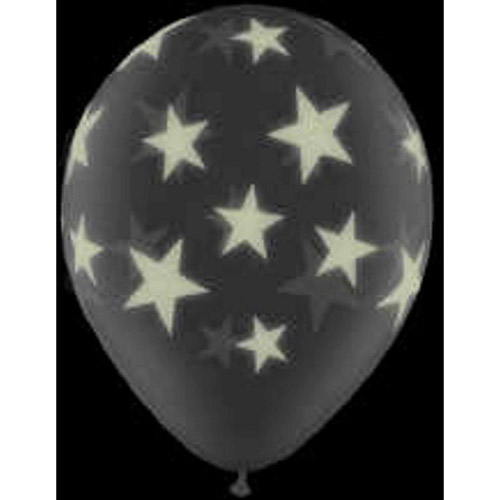 "11"" Latex Glow-in-the-Dark Star Balloons, 25-Pack"