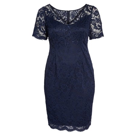 Womens Dress Navy Sequin Lace Sheath 4 Fashion Women Lace
