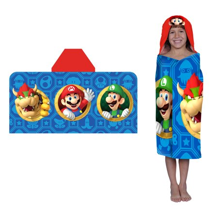 Super Mario Kids Hooded Bath Towel Wrap, Jump & Go, 1 Each