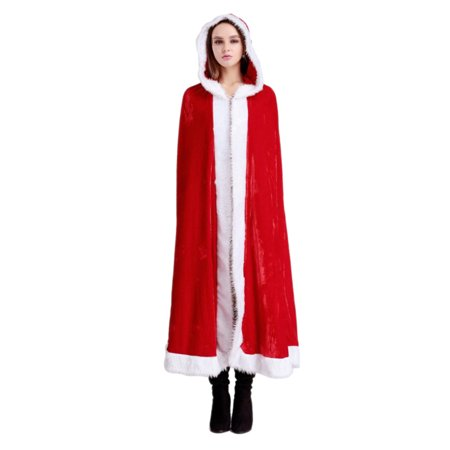 Christmas Cape Xmas Cloak Mrs. Santa Claus Hooded Robe Cloak Cosplay Costume for Kids Party Size - M - Capes And Cloaks