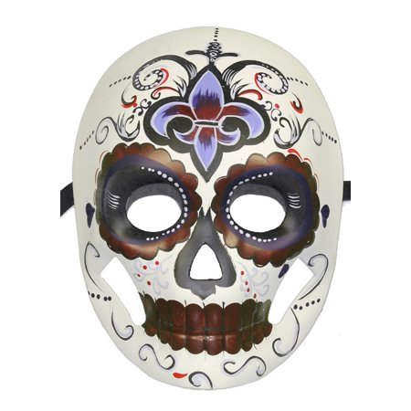 MAROON SKELETON MASK - Day of the Dead - FLUER DE LIS