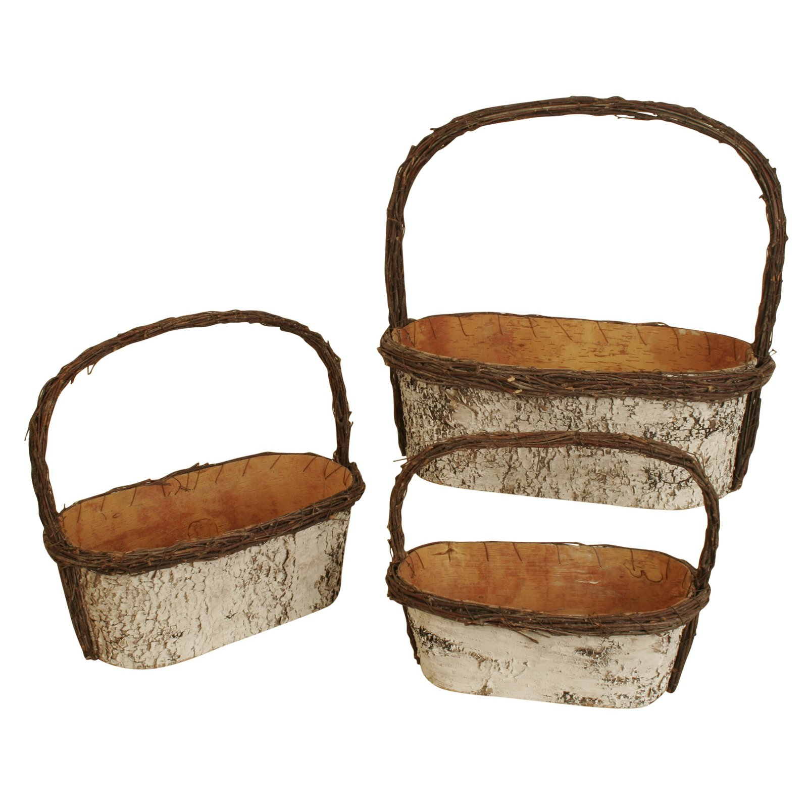 Wald Imports Birch Basket Planter with Handle - Set of 3