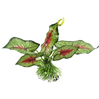 """uxcell 6.7"""" High Green Red Fabric Water Lily Leaf Plants Decor for Aquarium"""