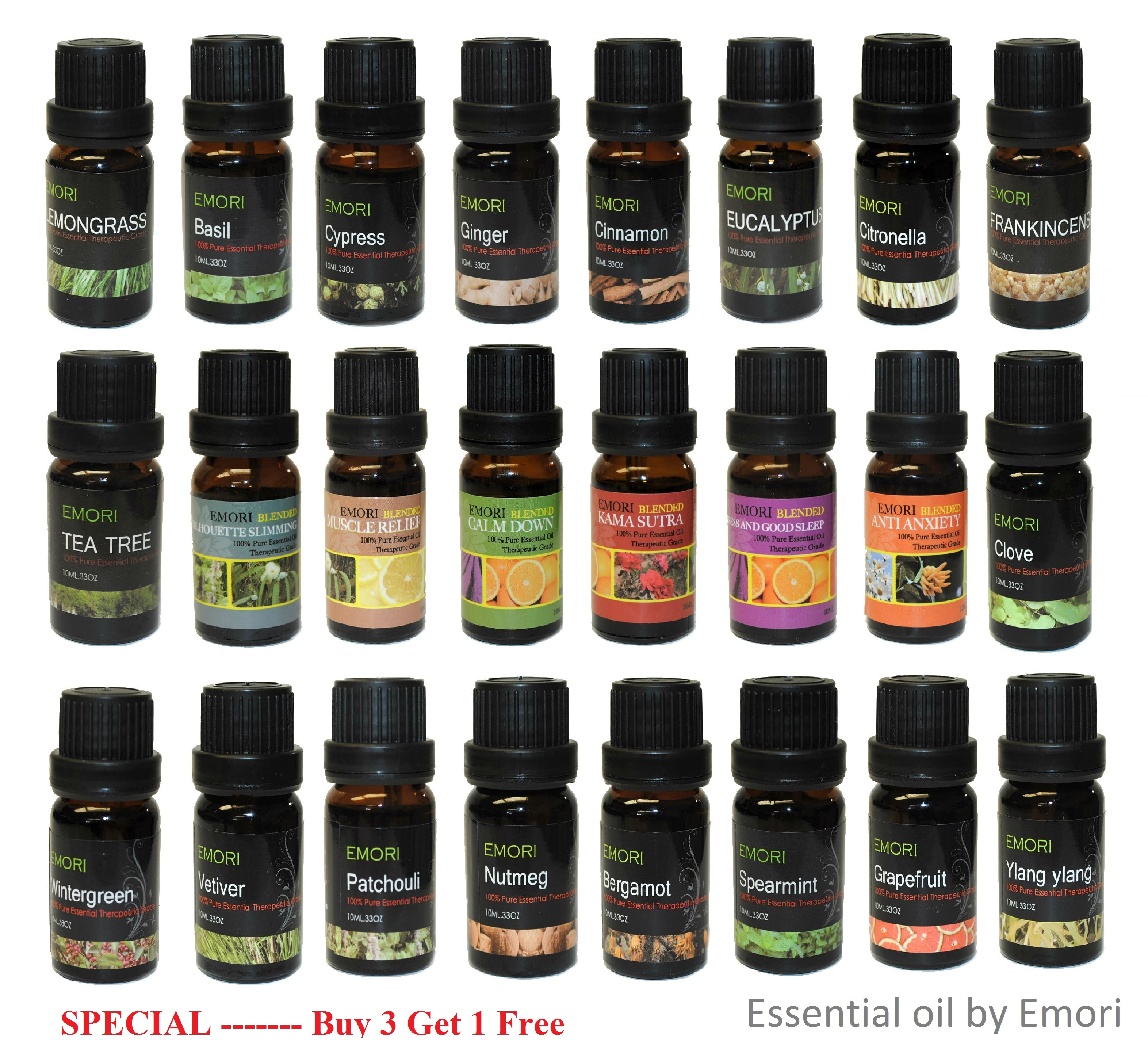 100% Pure Essential Oil Therapeutic Grade 10 ml by Emori
