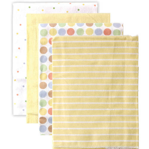 Luvable Friends Baby Boy and Girl Flannel Receiving Blanket, 4-Pack - Blue Dots