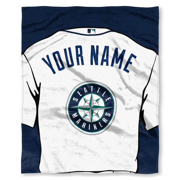 "MLB Seattle Mariners ""Jersey"" Personalized Silk Touch Throw Blanket"