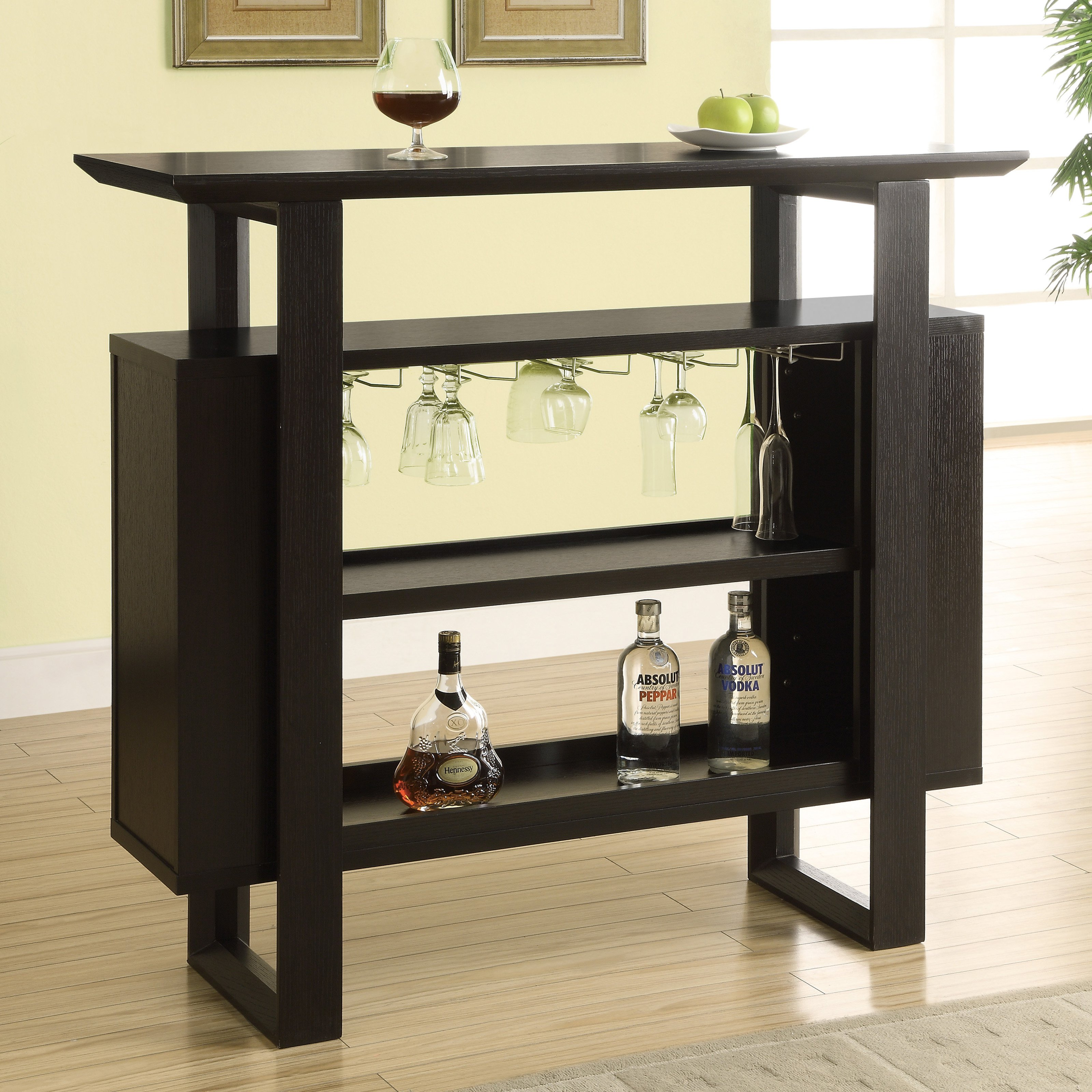 """Monarch Home Bar 48""""L / Cappuccino With Bottle / Glass Storage"""