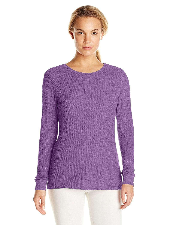 Fruit of the Loom Women's Waffle Thermal Underwear Top (Medium, Purple)