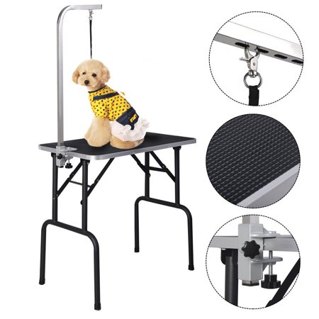 Costway 32'' Adjustable Pet Dog Cat Grooming Table Top Foam W/arm&noose Rubber